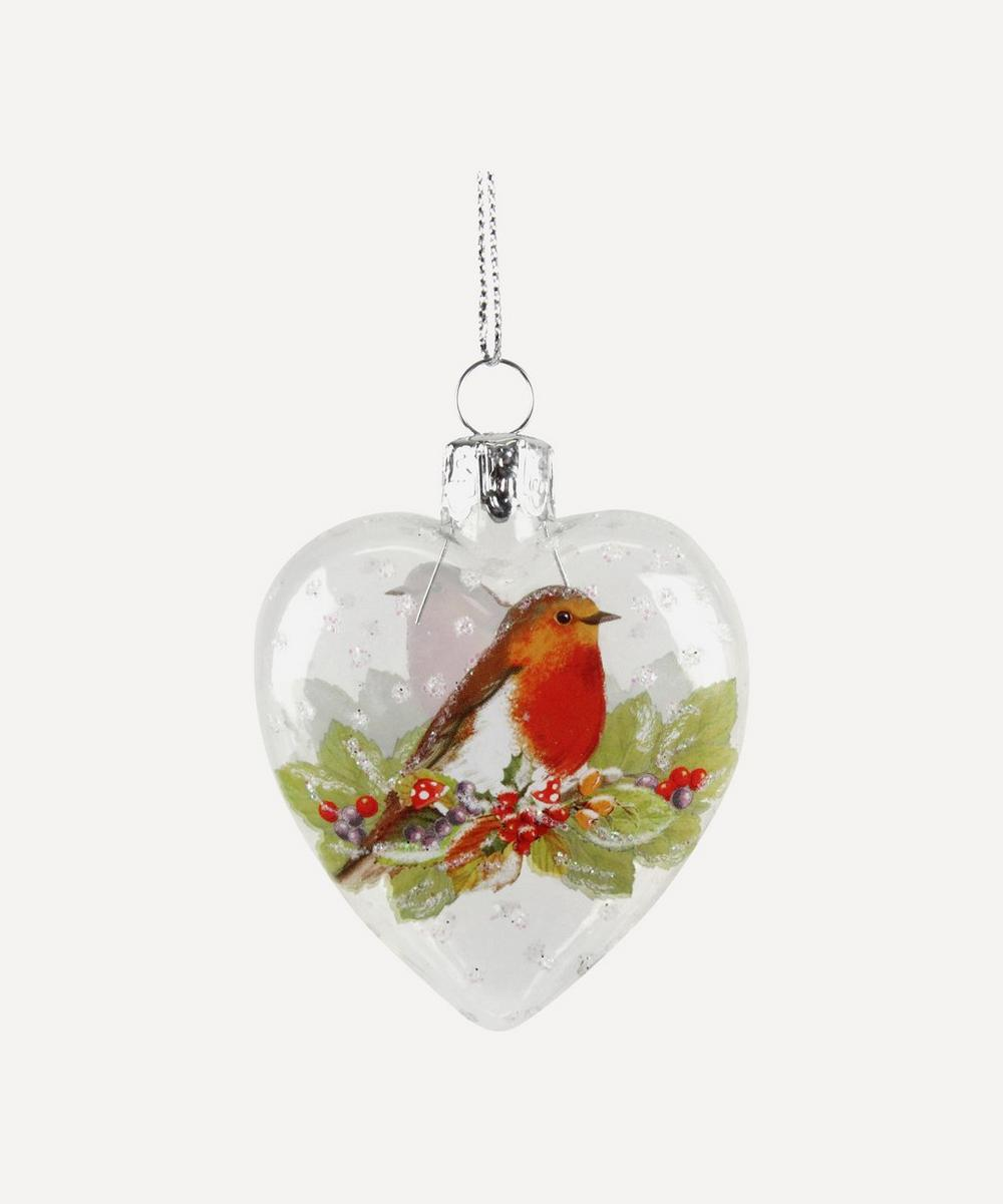 Unspecified - Glass Heart Robin Decoration Gisela Graham Glass Heart Robin Decoration