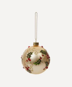Glitter Beaded Holly Bauble