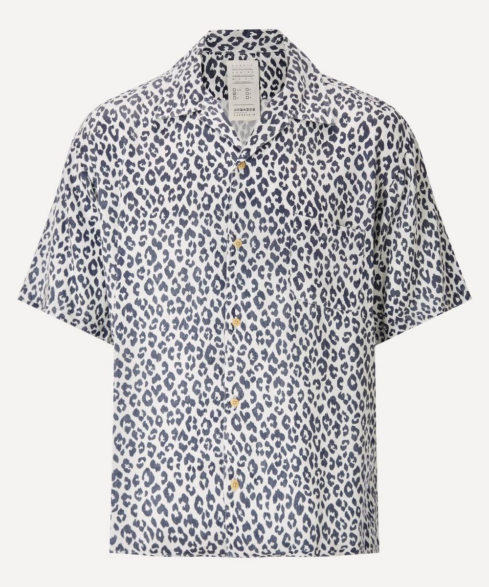 Kuro - Indigo Leopard Rayon Big Shirt