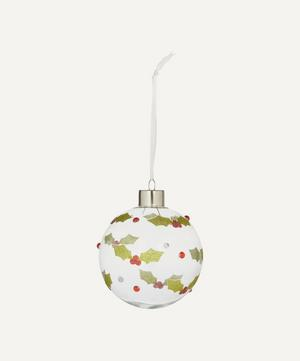 Glass Holly Bauble