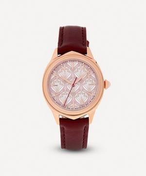 Lasenby Iphis Rose Gold-Plated Leather Strap Watch