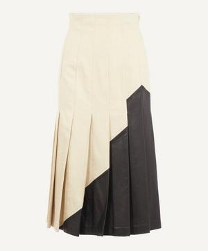 Saar Linen and Leather Midi-Skirt