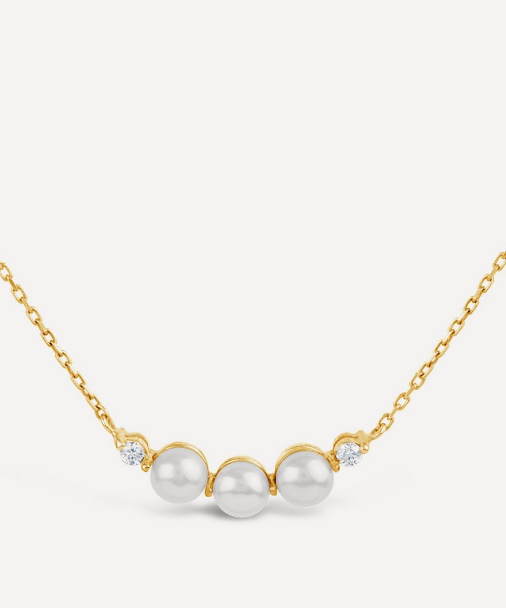 Dinny Hall - Gold Shuga Mini Pearl and Diamond Bar Pendant Necklace