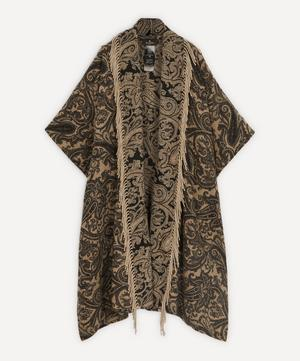 Paisley Jacquard Fringed Wool-Blend Cloak