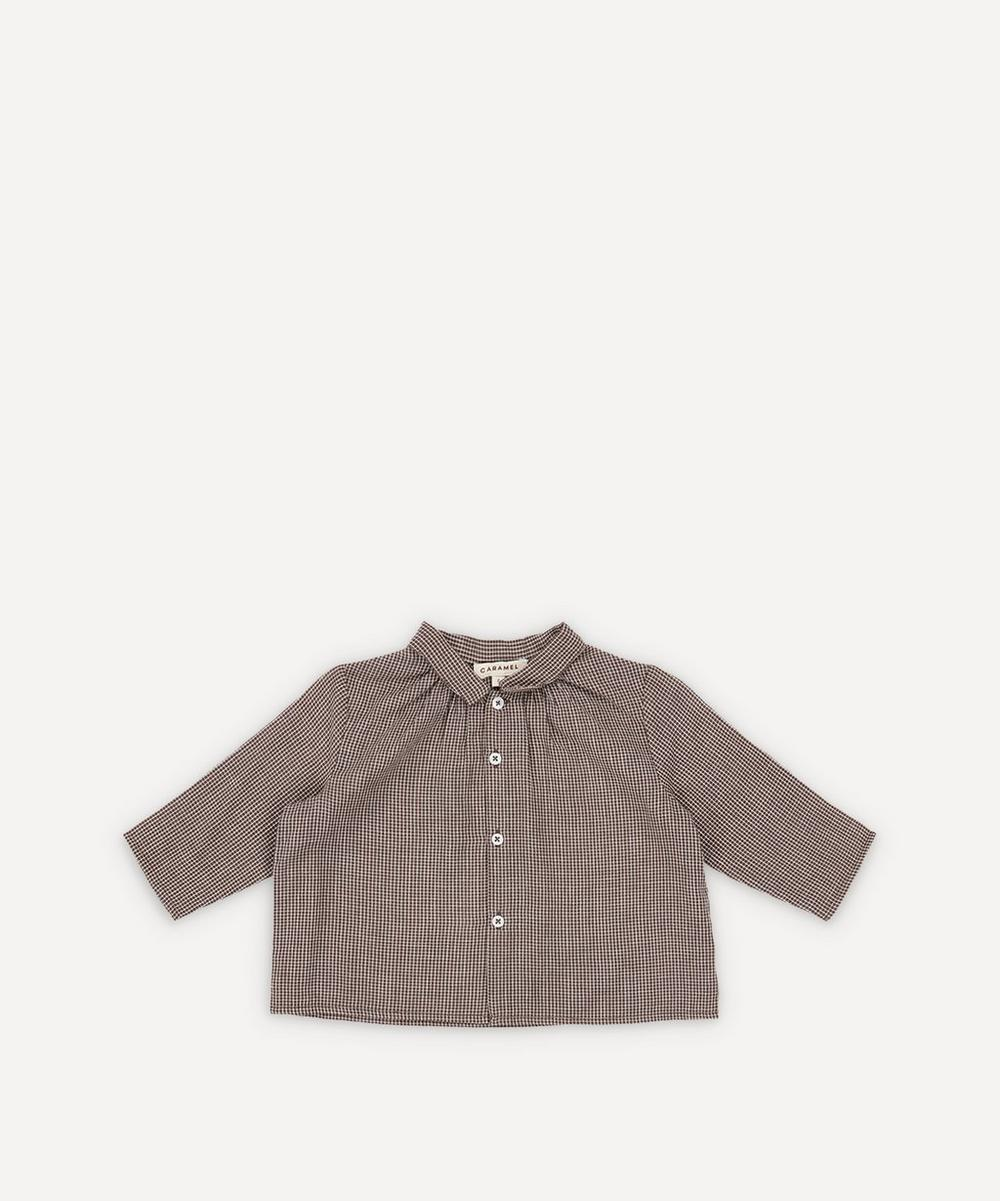 Caramel - Raven Checked Cotton Baby Shirt 3 Months-3 Years