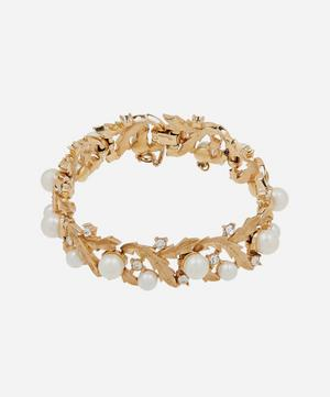 Gold-Plated 1960s Trifari Crystal and Faux Pearl Bracelet