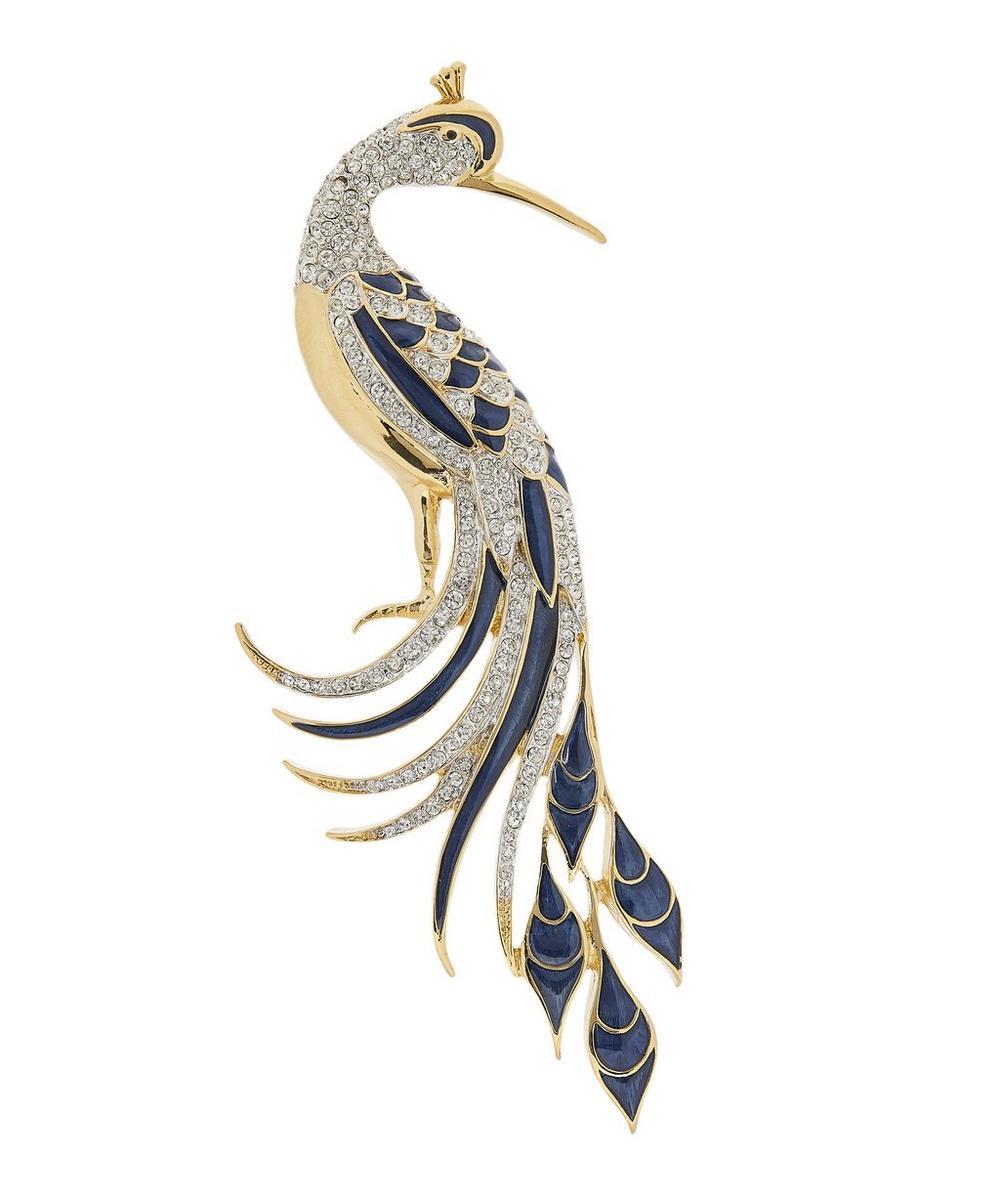 Susan Caplan Vintage - Gold-Plated 1990s D'Orlan Crystal and Enamel Peacock Brooch