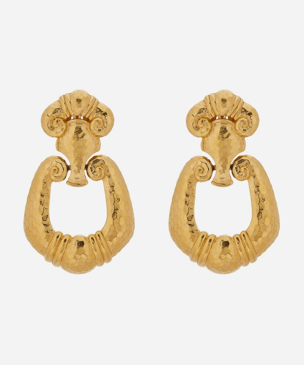 Susan Caplan Vintage - Gold-Plated 1980s Barrera Clip-On Earrings