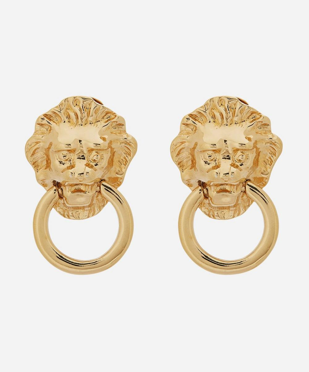 Susan Caplan Vintage - Gold-Plated 1980s Kenneth Jay Lane Door Knocker Clip-On Earrings
