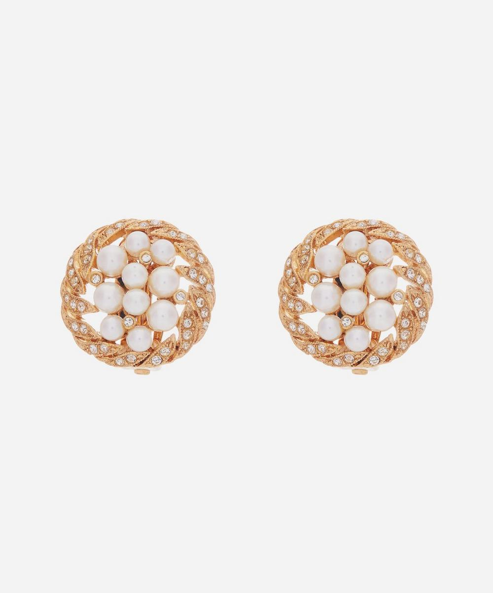 Susan Caplan Vintage - Gold-Plated 1980s Crystal and Faux Pearl Round Clip-On Earrings