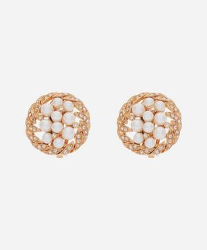 Gold-Plated 1980s Crystal and Faux Pearl Round Clip-On Earrings