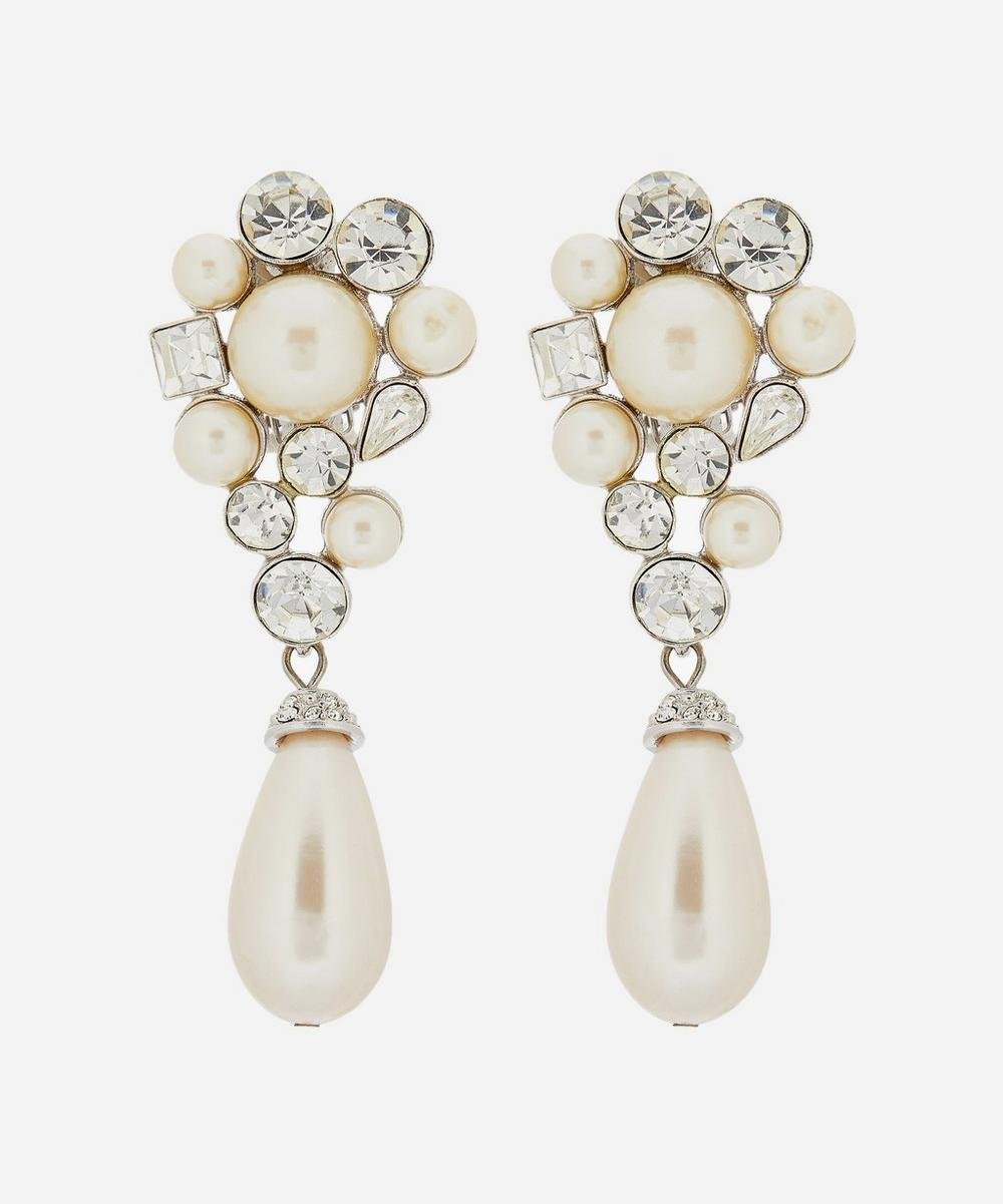 Susan Caplan Vintage - Silver-Plated Crystal and Faux Pearl Clip-On Drop Earrings