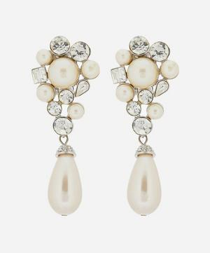 Silver-Plated Crystal and Faux Pearl Clip-On Drop Earrings