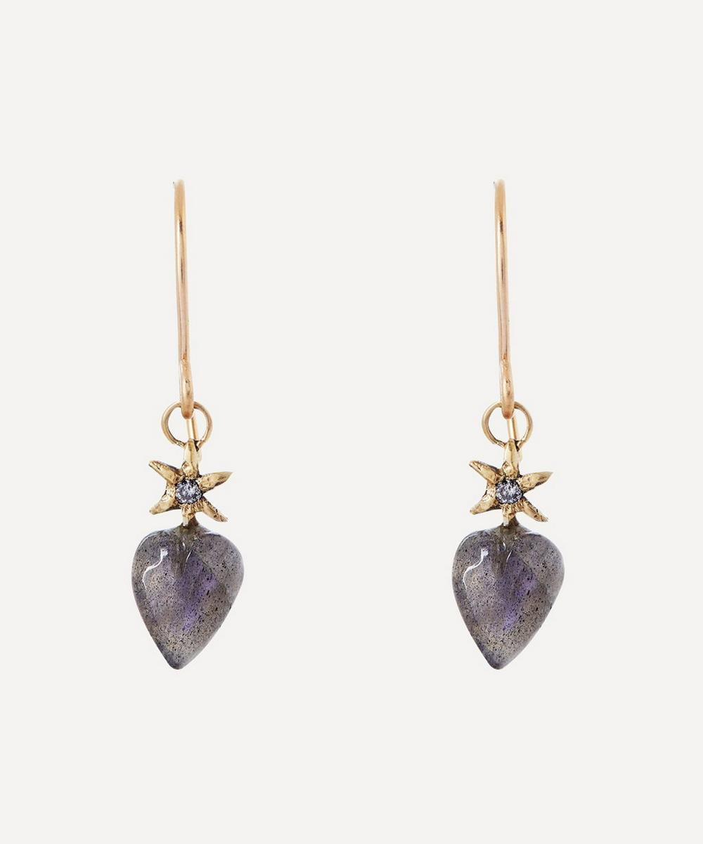 Acanthus - Gold Diamond and Labradorite Puffy Heart Drop Earrings