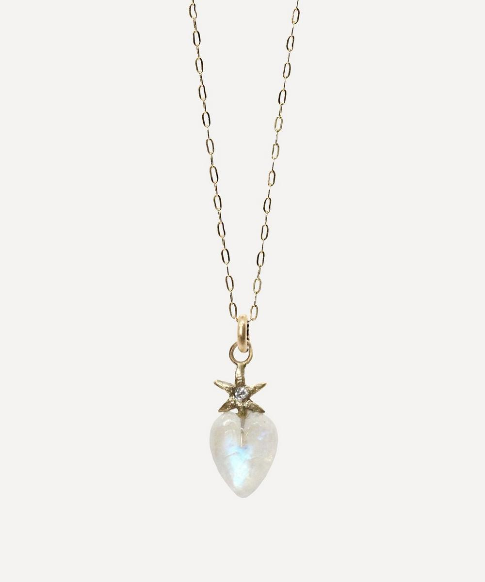 Acanthus - Gold Diamond and Moonstone Puffy Heart Pendant Necklace