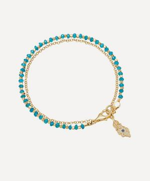 Gold Plated Vermeil Silver Peacock Feather Apatite Biography Bracelet