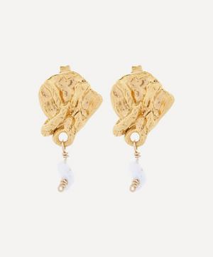 Gold-Plated Streaming Pearl Earrings