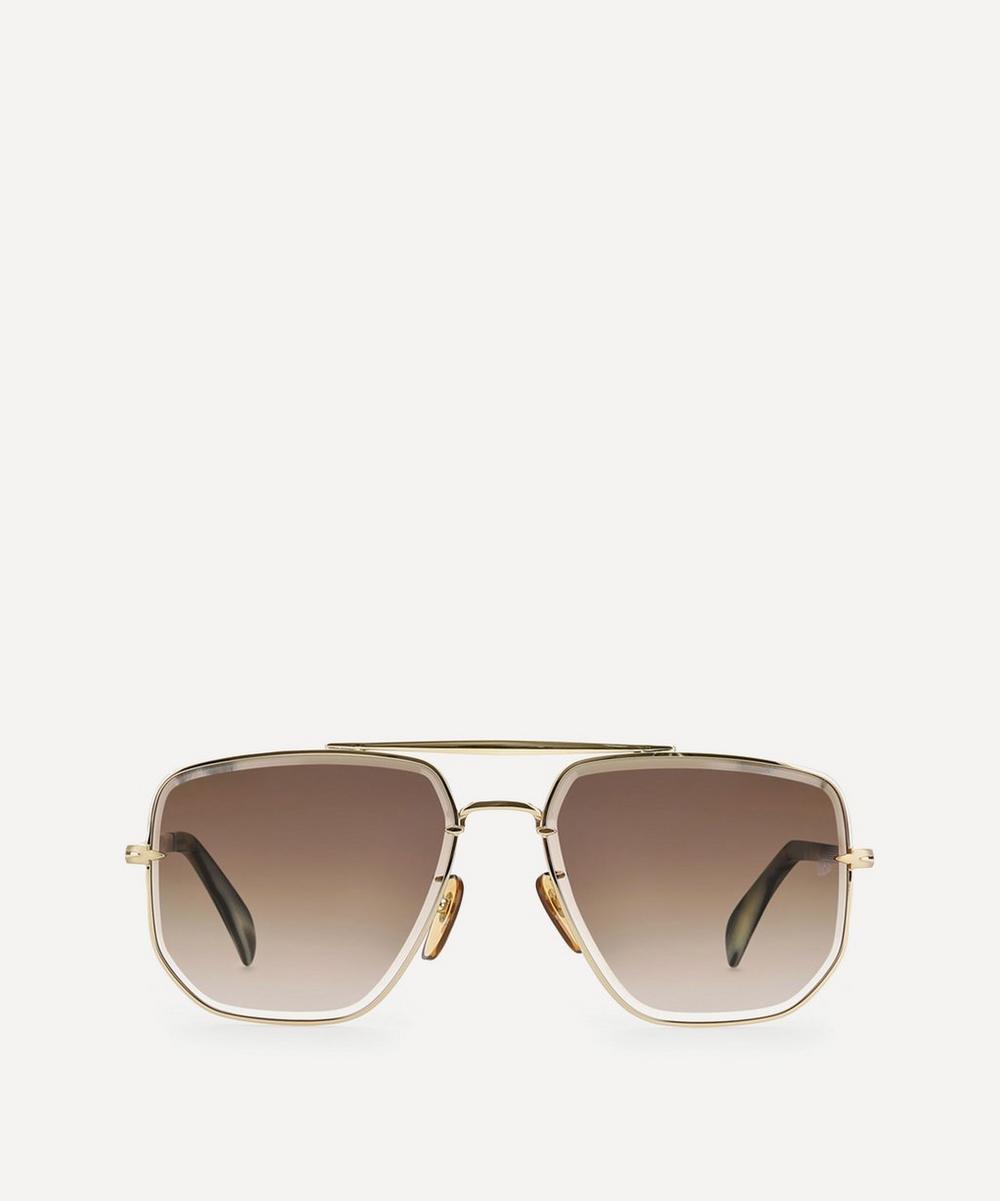 Eyewear by David Beckham - Square Aviator Metal Sunglasses