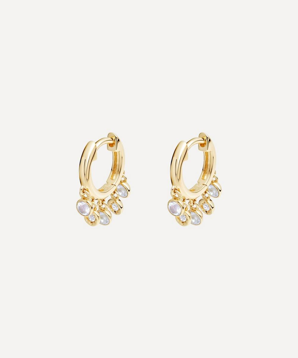 Astley Clarke - Gold Plated Vermeil Silver Biography Moonstone and White Sapphire Droplet Hoop Earrings