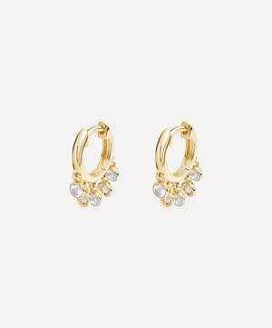 Gold Plated Vermeil Silver Biography Moonstone and White Sapphire Droplet Hoop Earrings