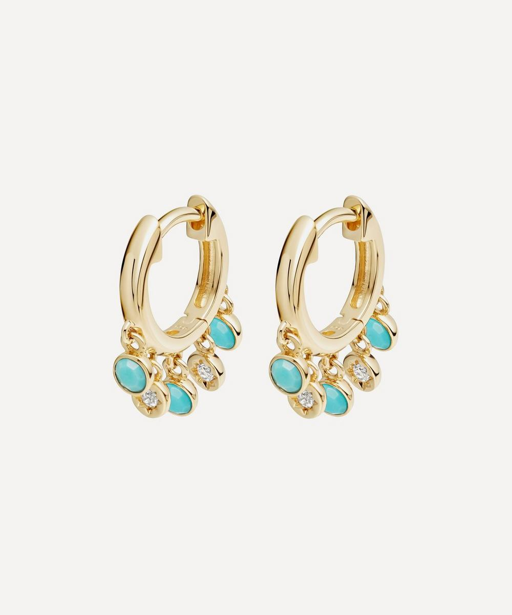 Astley Clarke - Gold Plated Vermeil Silver Biography Turquoise and White Sapphire Droplet Hoop Earrings