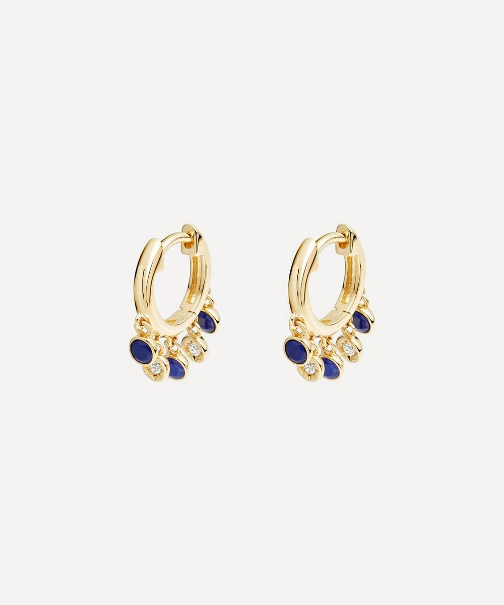 Astley Clarke - Gold Plated Vermeil Silver Biography Lapis Lazuli and White Sapphire Droplet Hoop Earrings