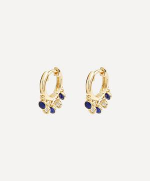 Gold Plated Vermeil Silver Biography Lapis Lazuli and White Sapphire Droplet Hoop Earrings