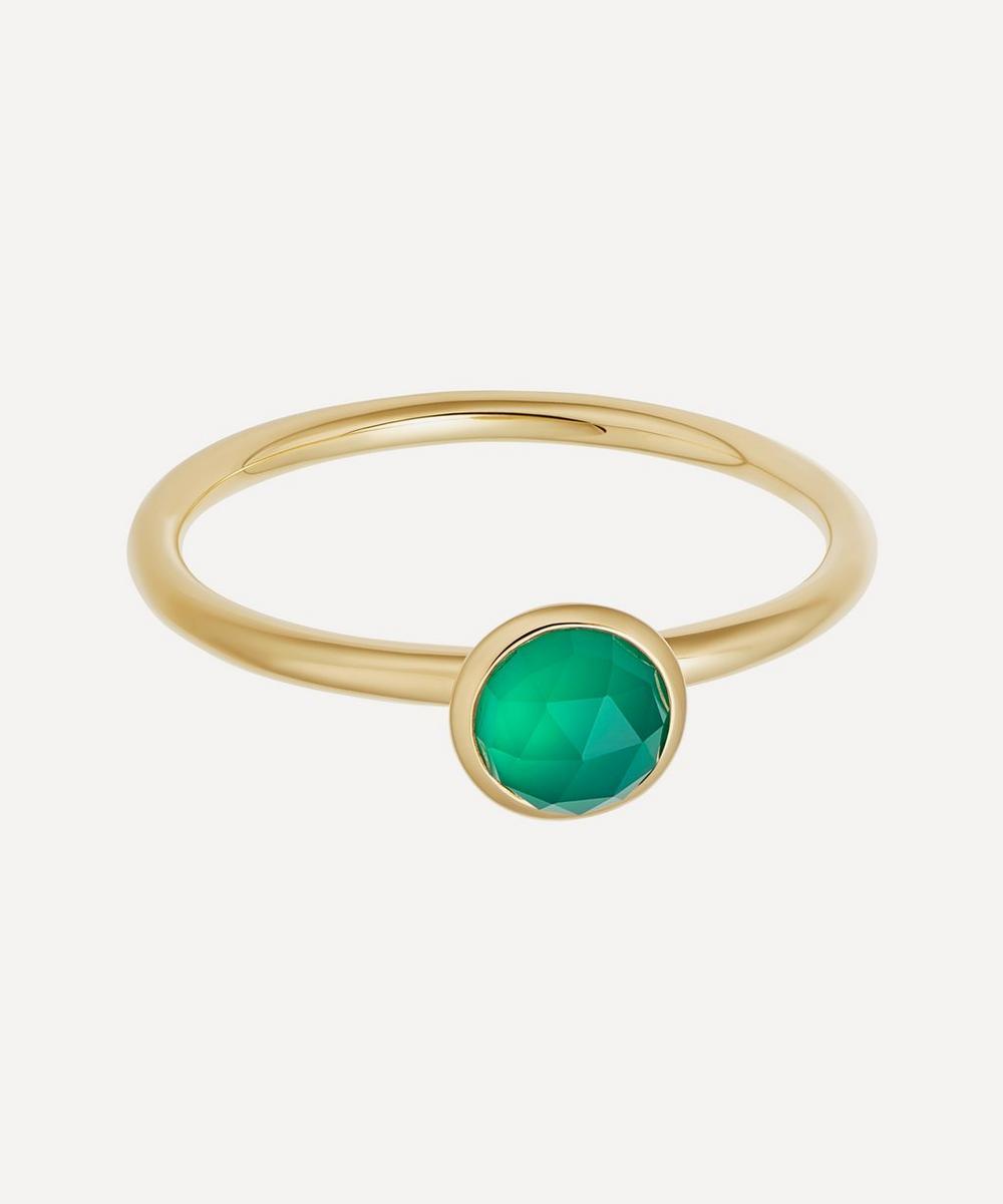 Astley Clarke - Gold Plated Vermeil Silver Mini Stilla Green Onyx Ring
