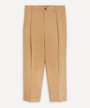 Tartana Pleated Cropped Trousers