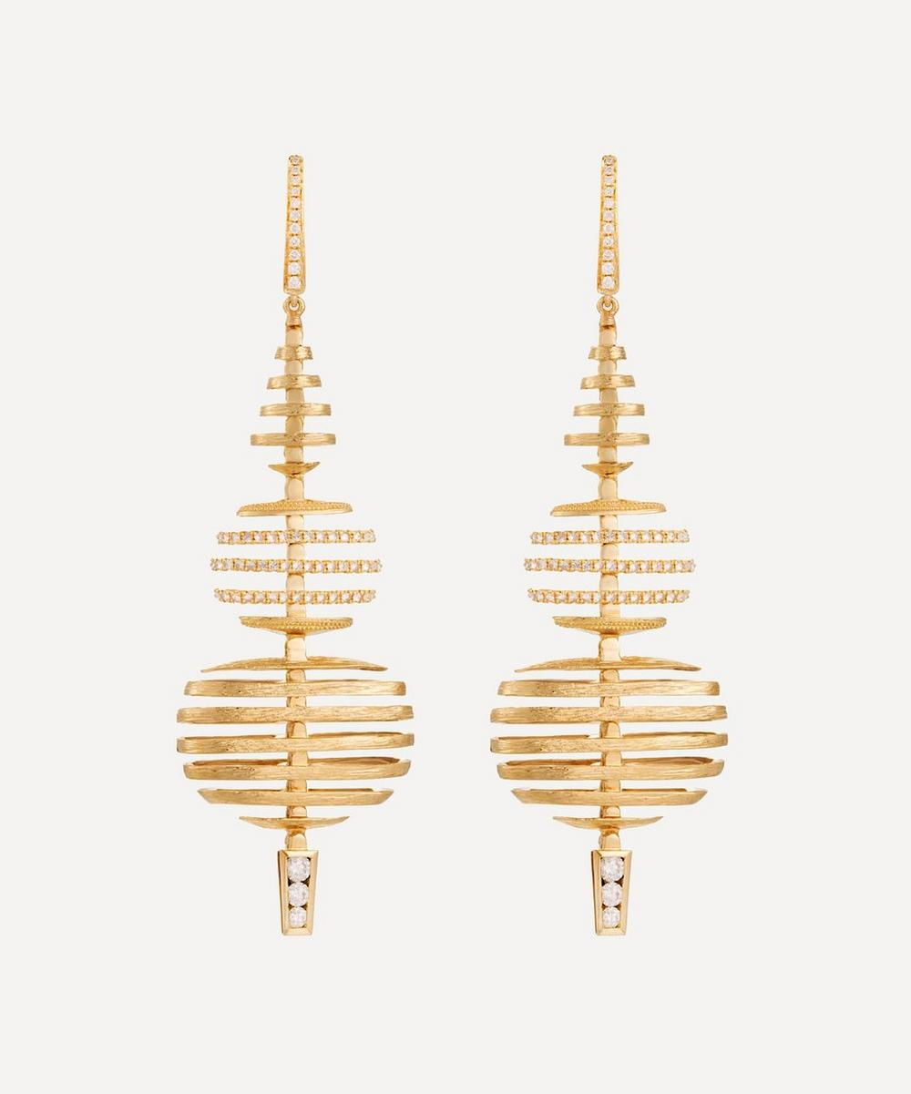 Annoushka - 18ct Gold Garden Party Large Diamond Drop Earrings
