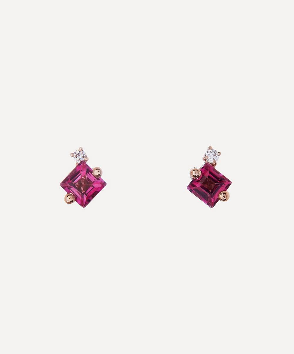 Suzanne Kalan - Rose Gold Princess Cut Pink Topaz and Diamond Stud Earrings