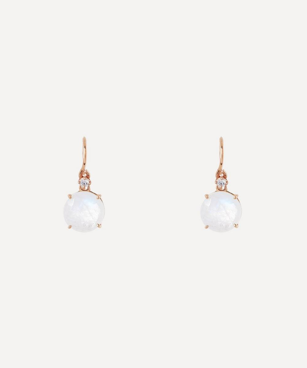 Suzanne Kalan - Rose Gold Round Rainbow Moonstone and Diamond Drop Earrings