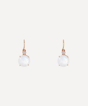 Rose Gold Round Rainbow Moonstone and Diamond Drop Earrings