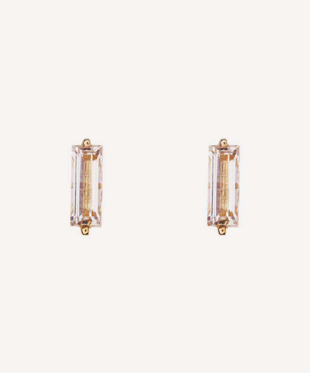 Suzanne Kalan - Gold Large Baguette Cut White Topaz Stud Earrings