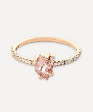 Rose Gold Diamond Cut Morganite Topaz and Diamond Ring