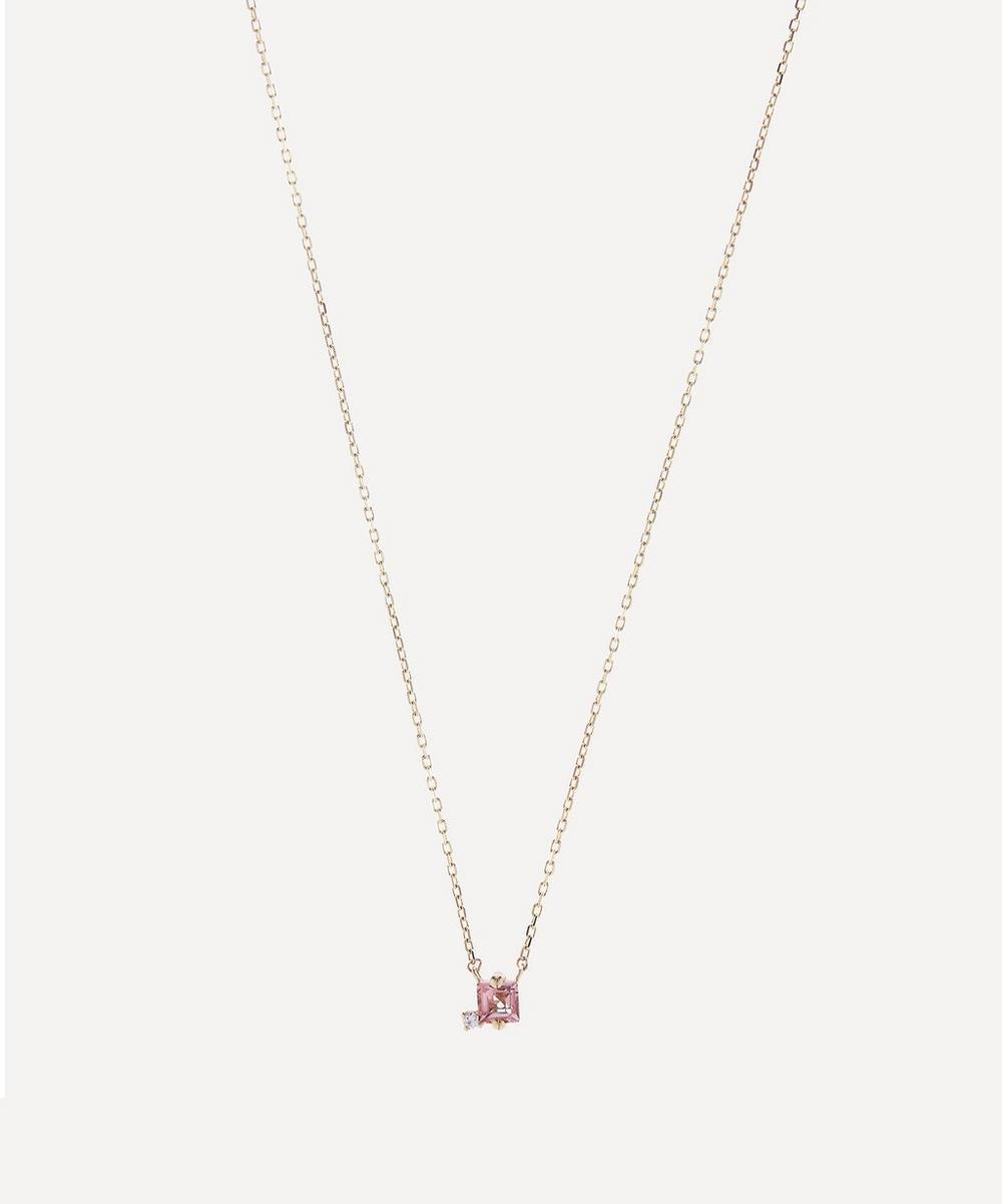 Suzanne Kalan - Gold Princess Cut Morganite Topaz and Diamond Pendant Necklace