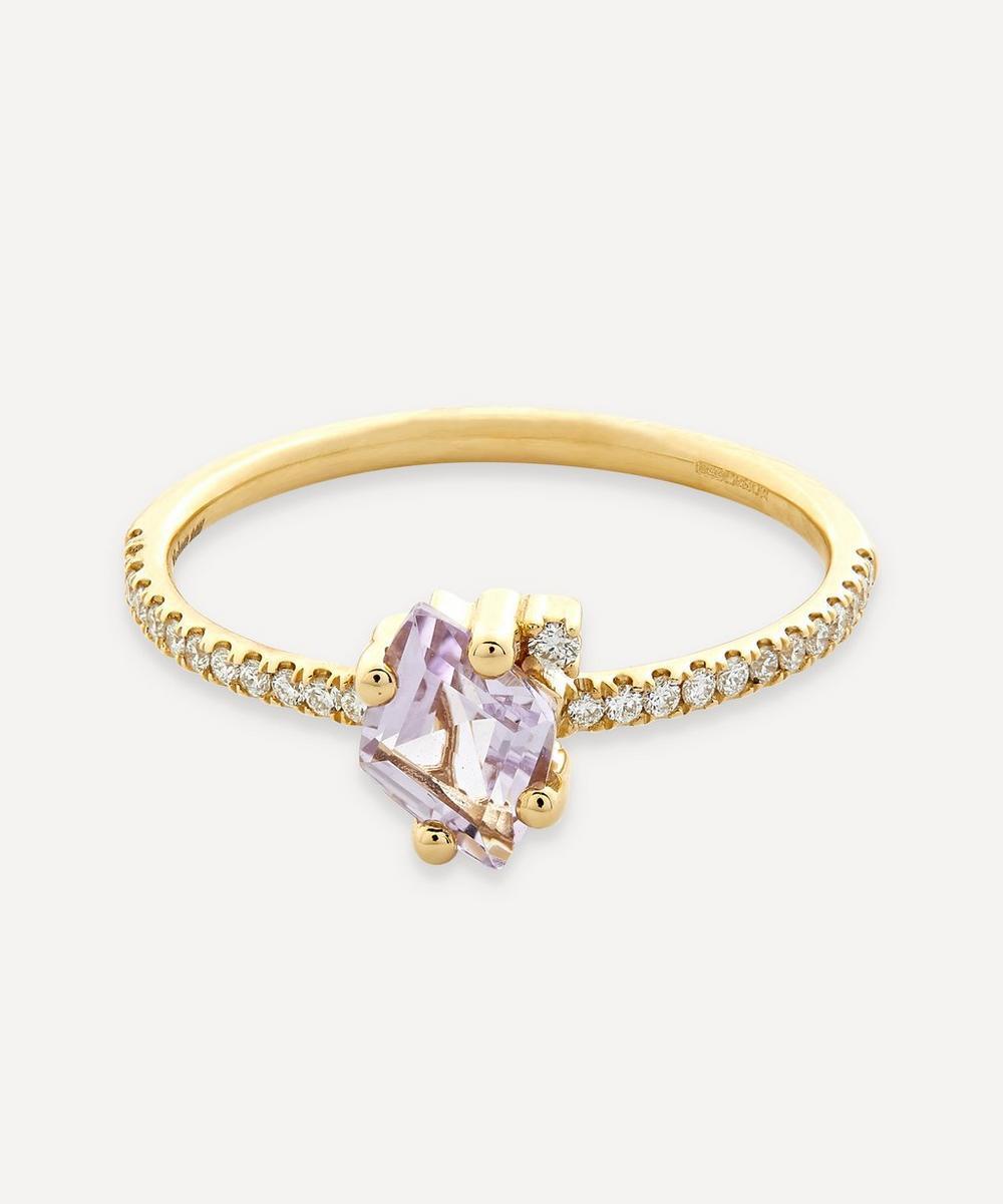 Suzanne Kalan - Gold Diamond Cut Rose de France and Diamond Ring