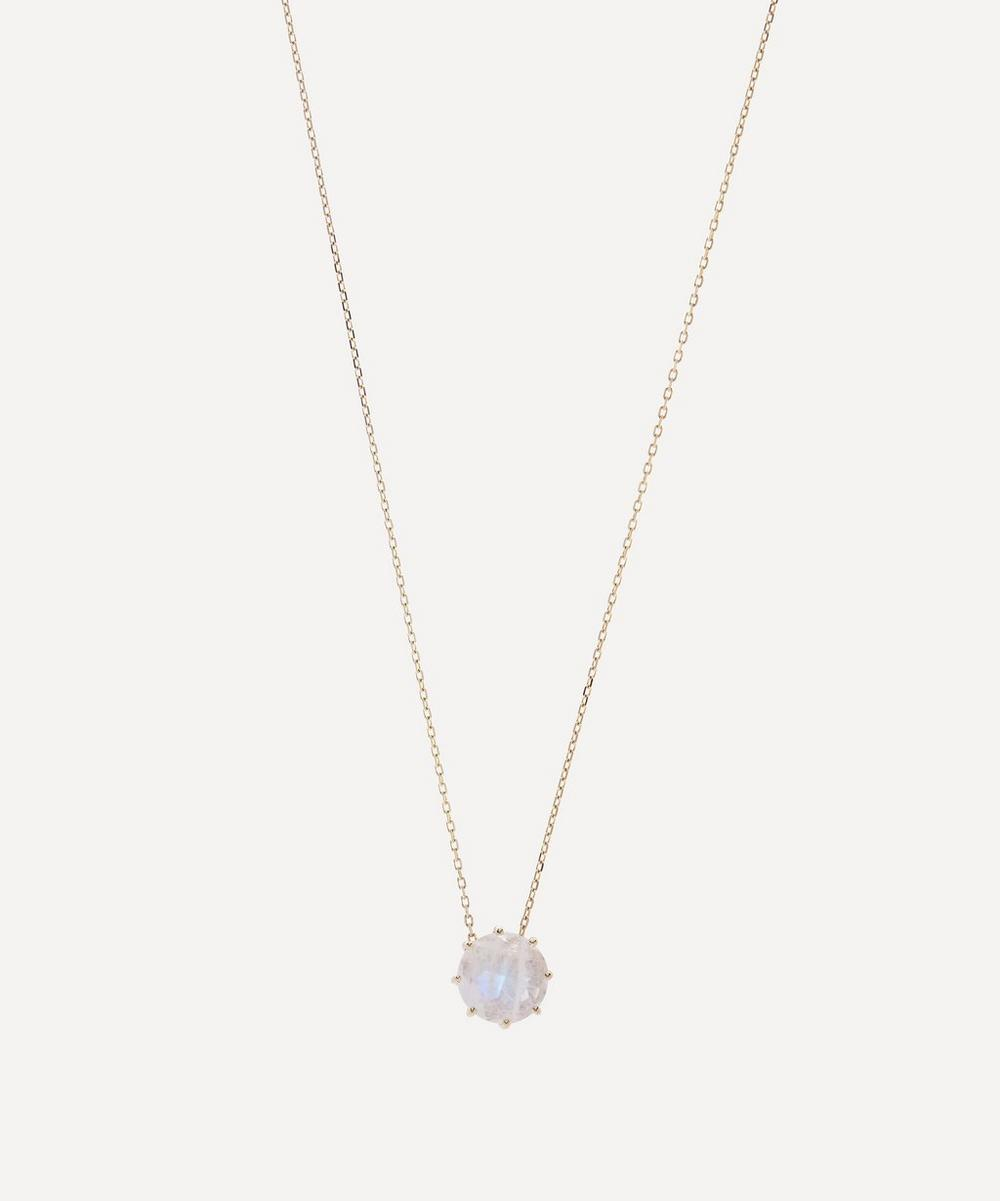Suzanne Kalan - Gold Round Rainbow Moonstone Drop Pendant Necklace