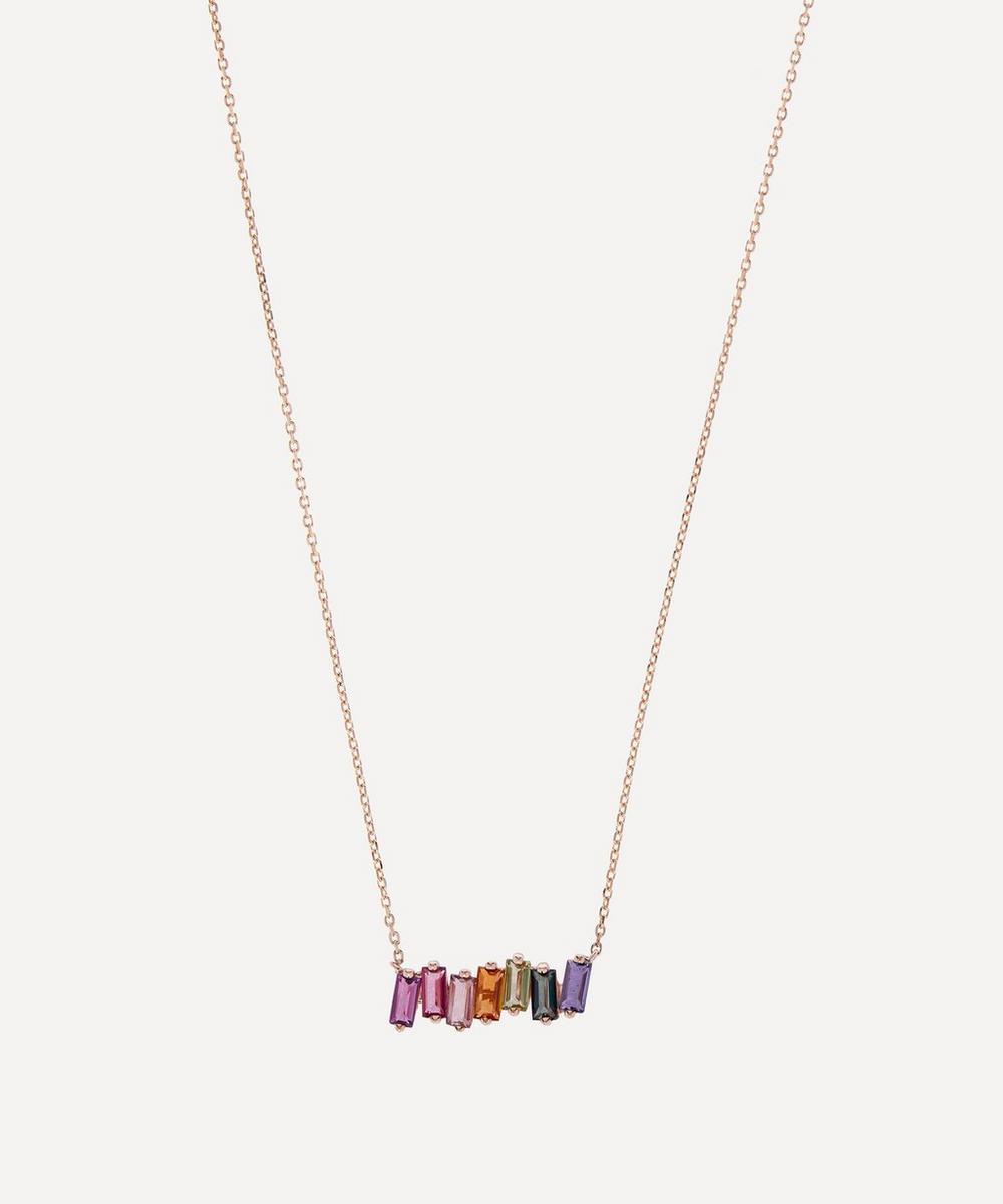 Suzanne Kalan - Rose Gold Multi-Stone Rainbow Bar Pendant Necklace