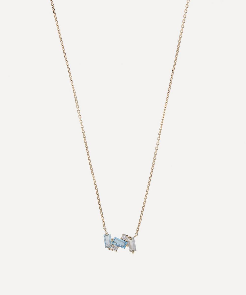 Suzanne Kalan - Gold Multi-Stone Mini Baguette Bar Pendant Necklace