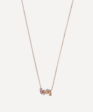 Rose Gold Multi-Stone Mini Baguette Bar Pendant Necklace