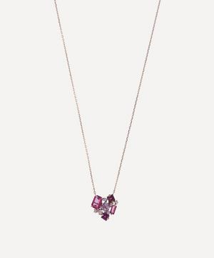 Rose Gold Multi-Stone Heart Cluster Pendant Necklace