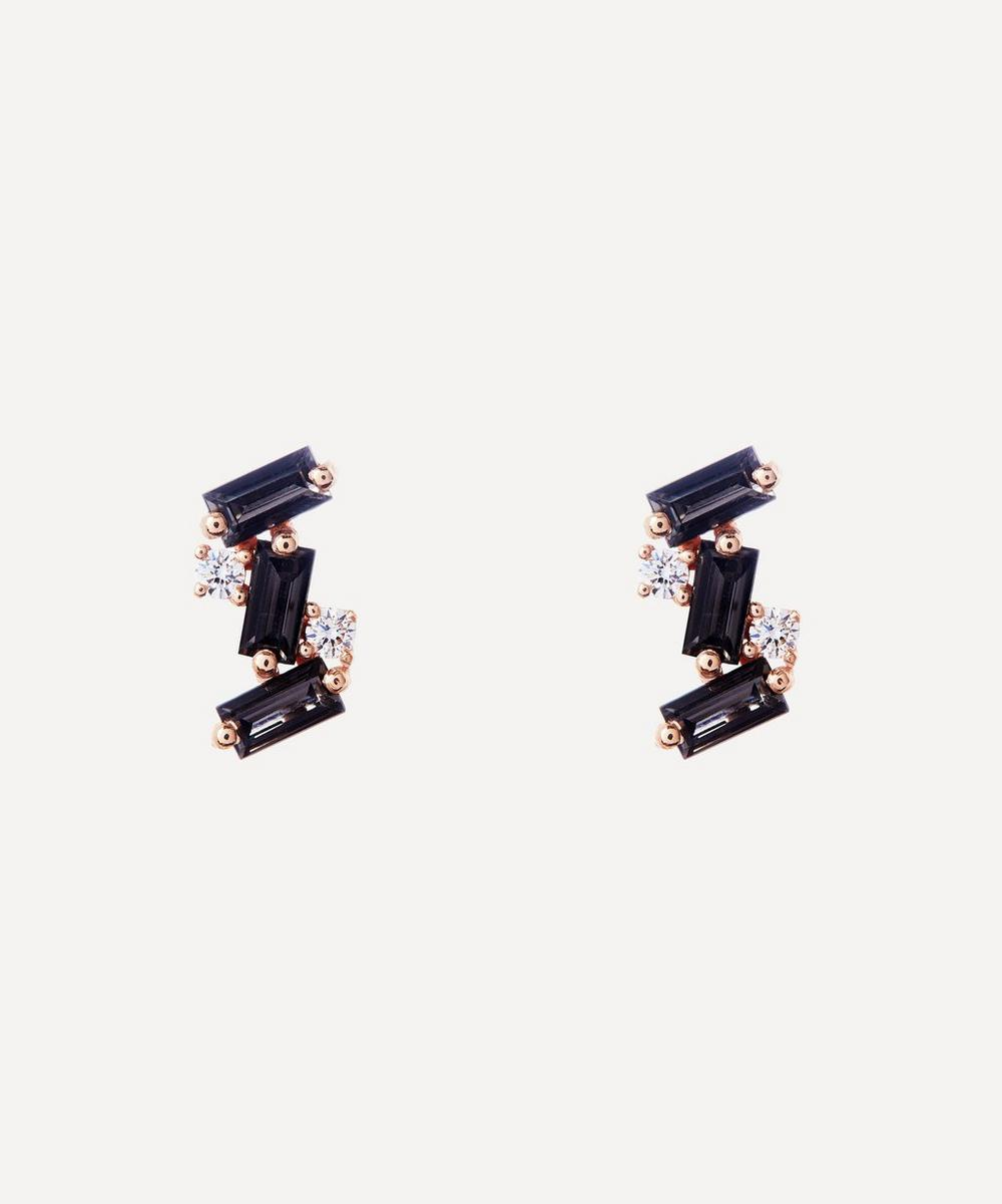 Suzanne Kalan - Rose Gold Black Spinel and Diamond Stud Earrings