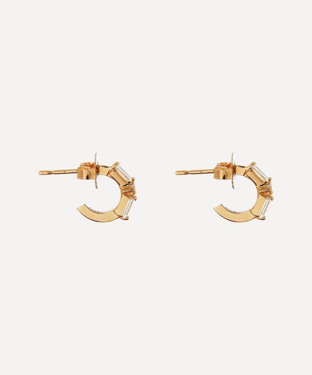 Suzanne Kalan - Gold Small White Topaz and Diamond Hoop Earrings