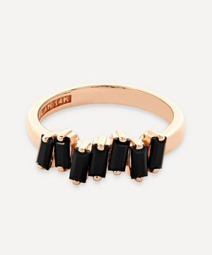 Rose Gold Black Spinel Baguette Ring