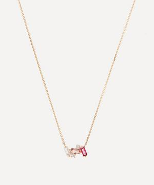 Rose Gold Multi-Stone Mini Baguette Bar Pendant Necklace