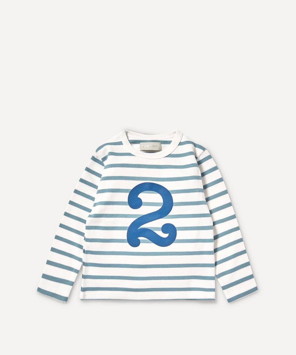 Bob & Blossom - Breton Stripe Number 2 T-Shirt 2-3 Years