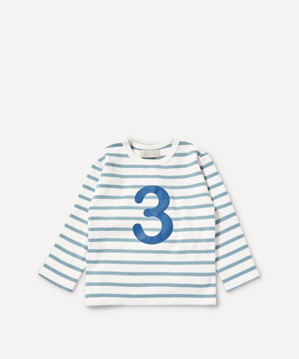Bob & Blossom - Breton Stripe Number 3 T-Shirt 3-4 Years