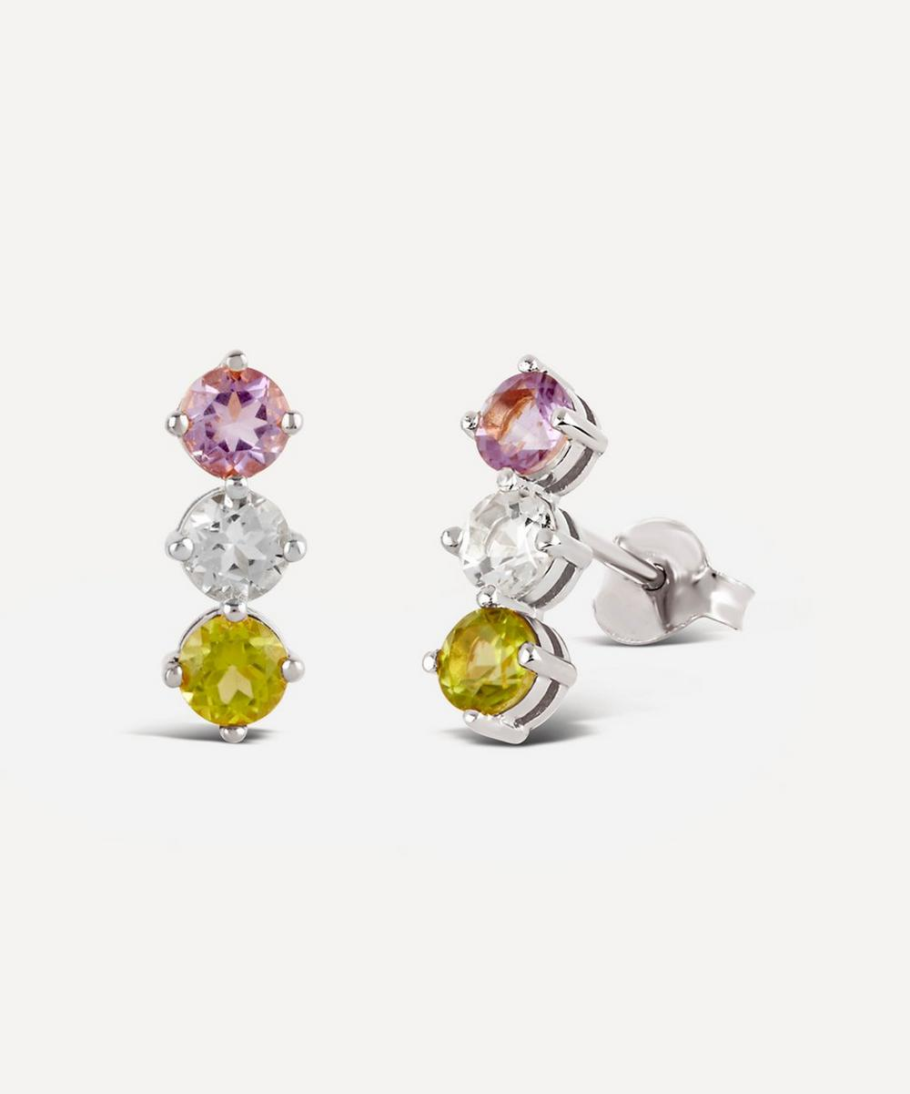 Dinny Hall - Silver Suffragette Gemstone Trio Stud Earrings