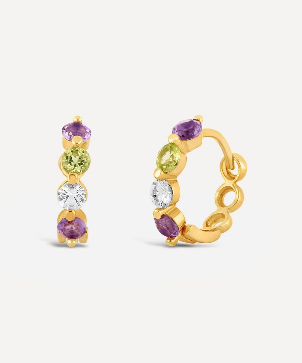 Dinny Hall - Gold Plated Vermeil Silver Suffragette Gemstone Huggie Hoop Earrings